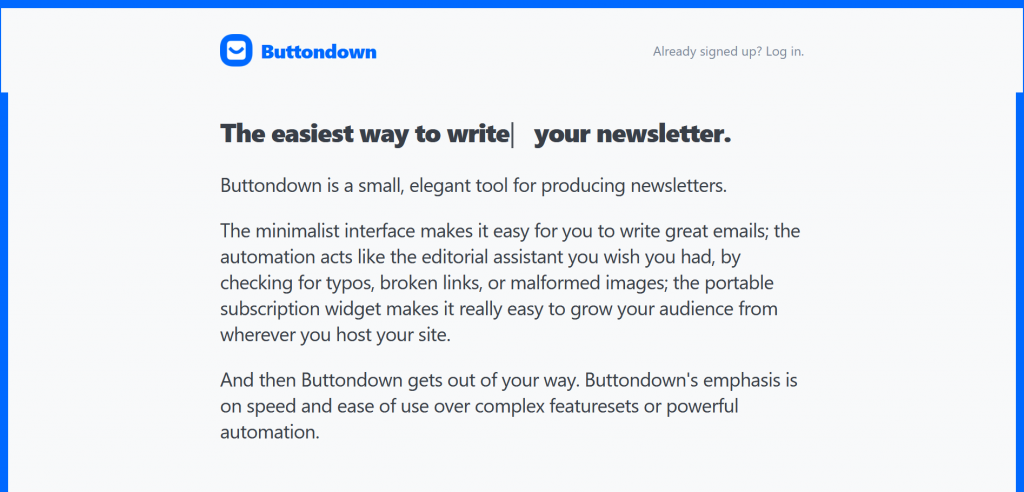 buttondown start a newsletter