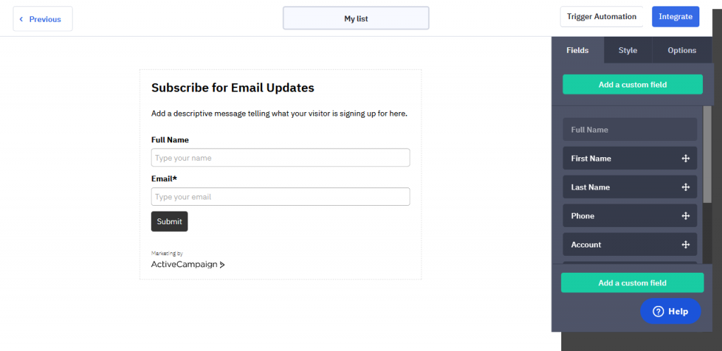 Activecampaign subscriber form